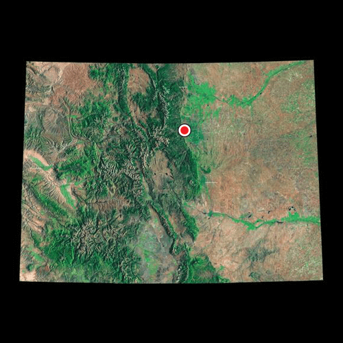 A satellite view of Colorado