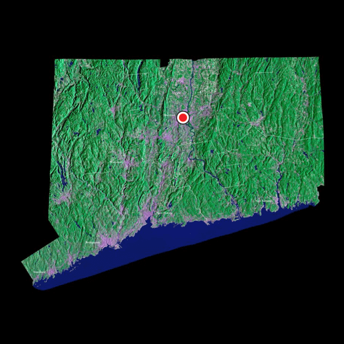 A satellite view of Connecticut