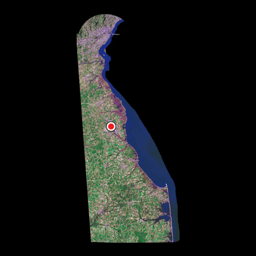 A satellite view of Delaware