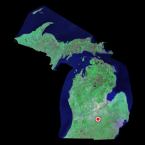 A satellite view of Michigan