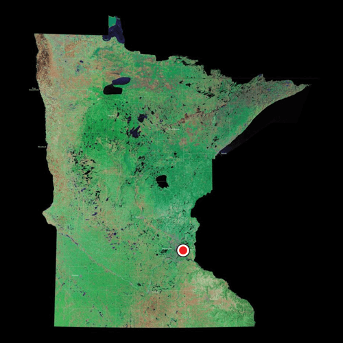 A satellite view of Minnesota