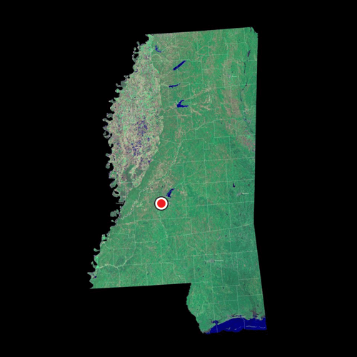 A satellite view of Mississippi
