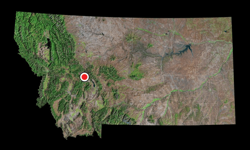 A satellite view of Montana