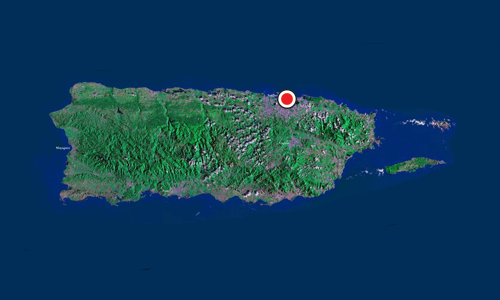 A satellite view of Puerto Rico