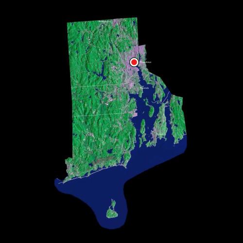 A satellite view of Rhode Island