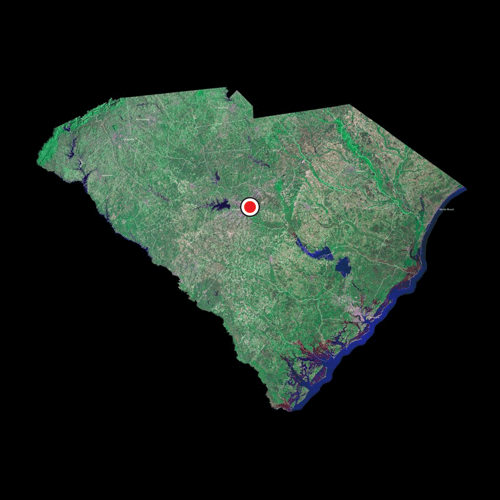 A satellite view of South Carolina