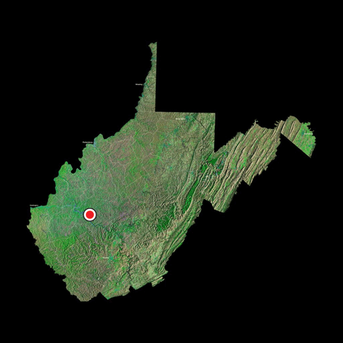 A satellite view of West Virginia