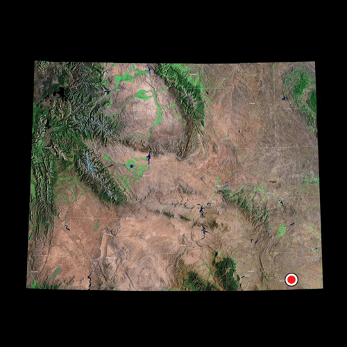 A satellite view of Wyoming