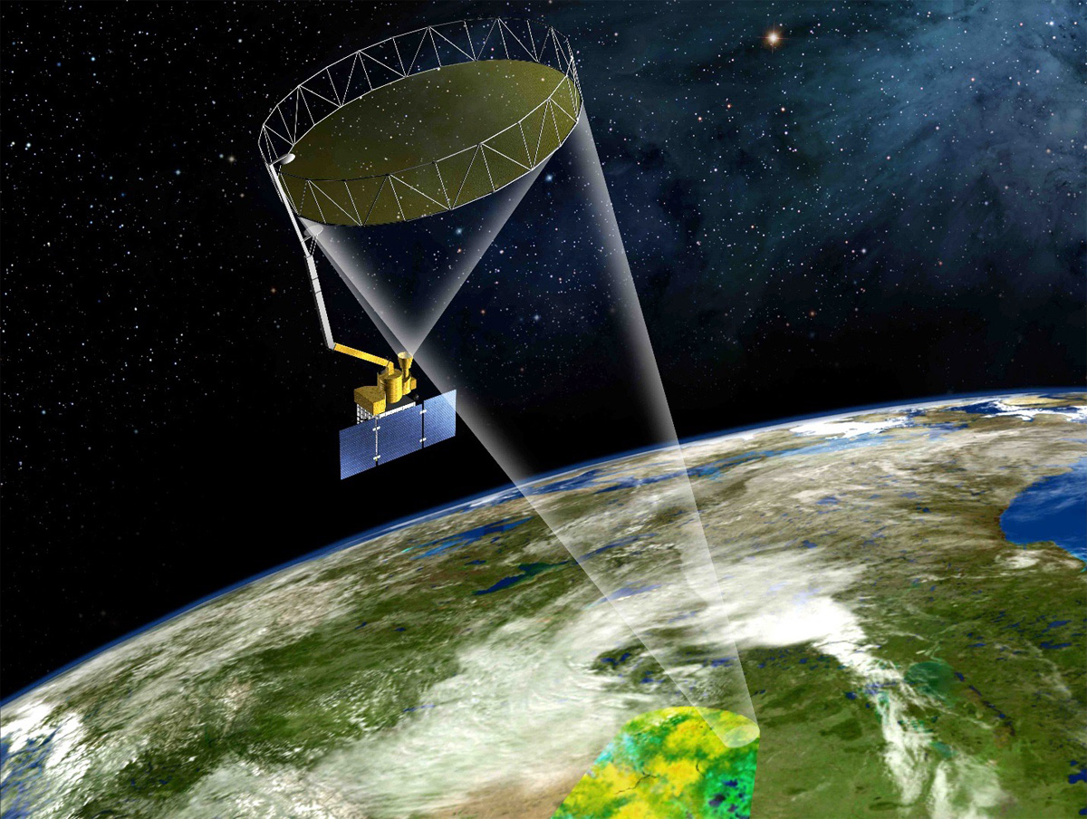 Artist's conception of SMAP taking data from orbit.