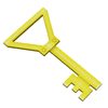 Icon for key to treasure chest. Key is hanging from a buoy under water.