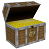 Treasure chest full of gold.