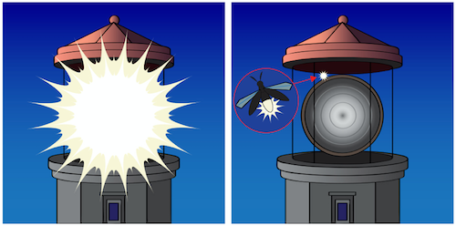 an illustration of a firefly next to a lighthouse