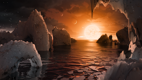 an illustration of what it might lookl like on the surface of TRAPPIST-1f