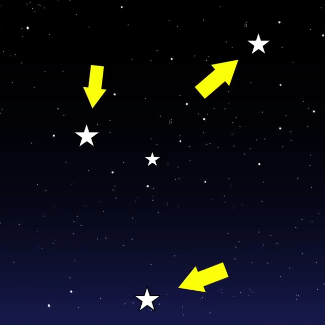an illustration of stars in the night sky with arrows pointing at three stars