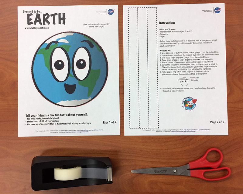photo relating to Printable Planet called Generate a globe mask! NASA Location Destination NASA Science for Young children
