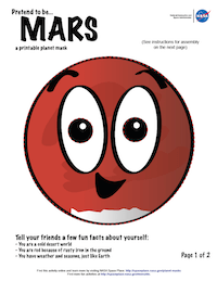 thumbnail image of first page of Mars planet mask activity