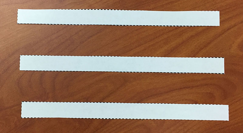 strips of paper after being cut from template