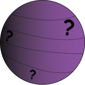 cartoon of a purple planet with question marks.