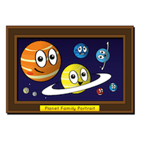 an illustration of the planets in our solar system in a family portrait