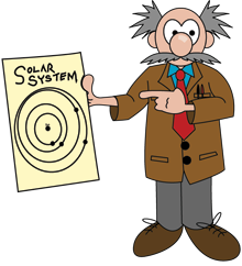 Cartoon Professor Starr holds a diagram of the solar system.