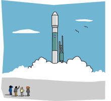 Cartoon of a rocket ready to blast off, with people watching.