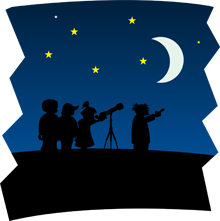 Cartoon silouhette of people looking at the night sky through a telescope.