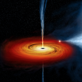 An illustration of the black hole Cygnus X-1 in red and orange on a black background.