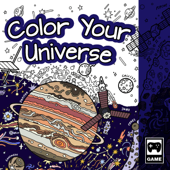 Game box art for the game Color Your Universe. The text 'Color Your Universe' is over a coloring page featuring Jupiter and spacecraft. The coloring page is half colored in.