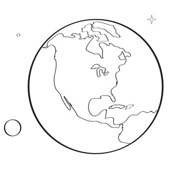 Black and white outline of Earth and its features.