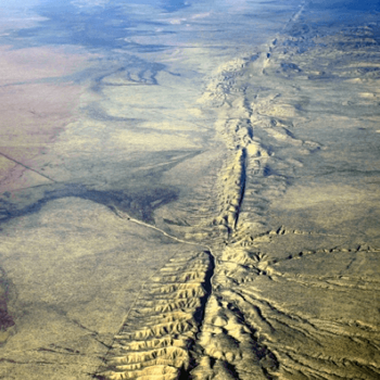 This photograph shows the San Andreas Fault, a 750-mile-long fault in California. Credit: Public Domain