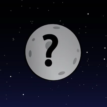 an illustration of a grey planet with a question mark on it