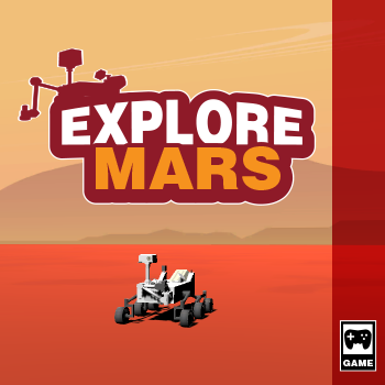 Game box art for the game Explore Mars. A Mars rover is in the middle of a Mars landscape. Credit: NASA/JPL-Caltech