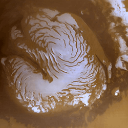 The north polar cap of Mars as seen by the Mars Global Surveyor. Credit: NASA/JPL/MSSS