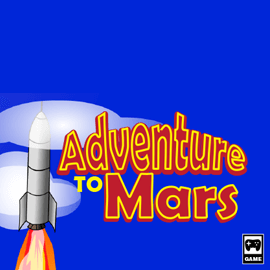 Illustration of a game box cover for the game Adventure to Mars.