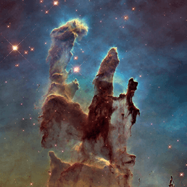 Towers of cosmic dust and gas that make up part of the Eagle Nebula.