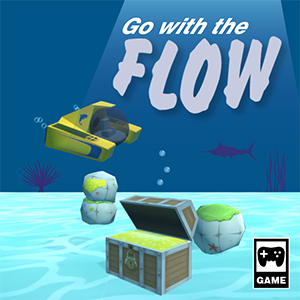 Illustration of a game box cover for the game Go With the Flow.