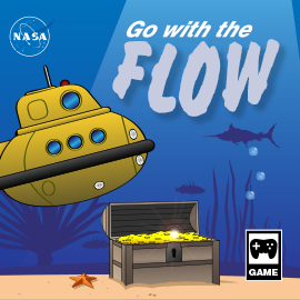 illustration of a game box cover for the game Go With the Flow