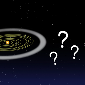 an illustration of the solar system and some question marks beyond