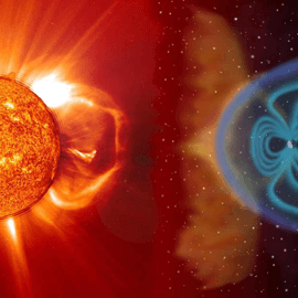 Rendered image of space weather moving from the Sun to Earth.