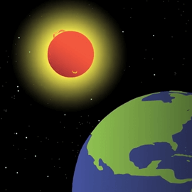 Illustration of the Sun and Earth.