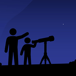 Illustration of two people using a telescope. Credit: NASA/JPL-Caltech