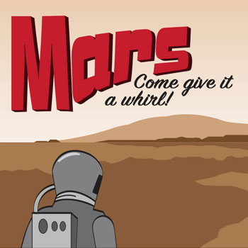 Illustration of a travel postcard for Mars.