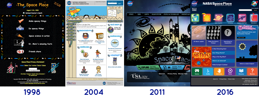 Snapshots of the NASA Space Place website throughout the years.