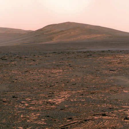 A photo of the Mars surface with a hill in the background and lots of small rocks in the foreground.