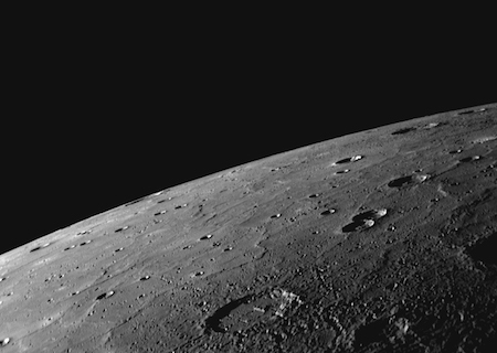 A photo of Mercury's surface showing craters.