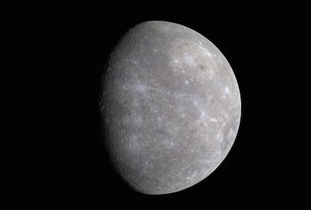 A photo of Mercury with colors added and lightened to show surface features like craters.