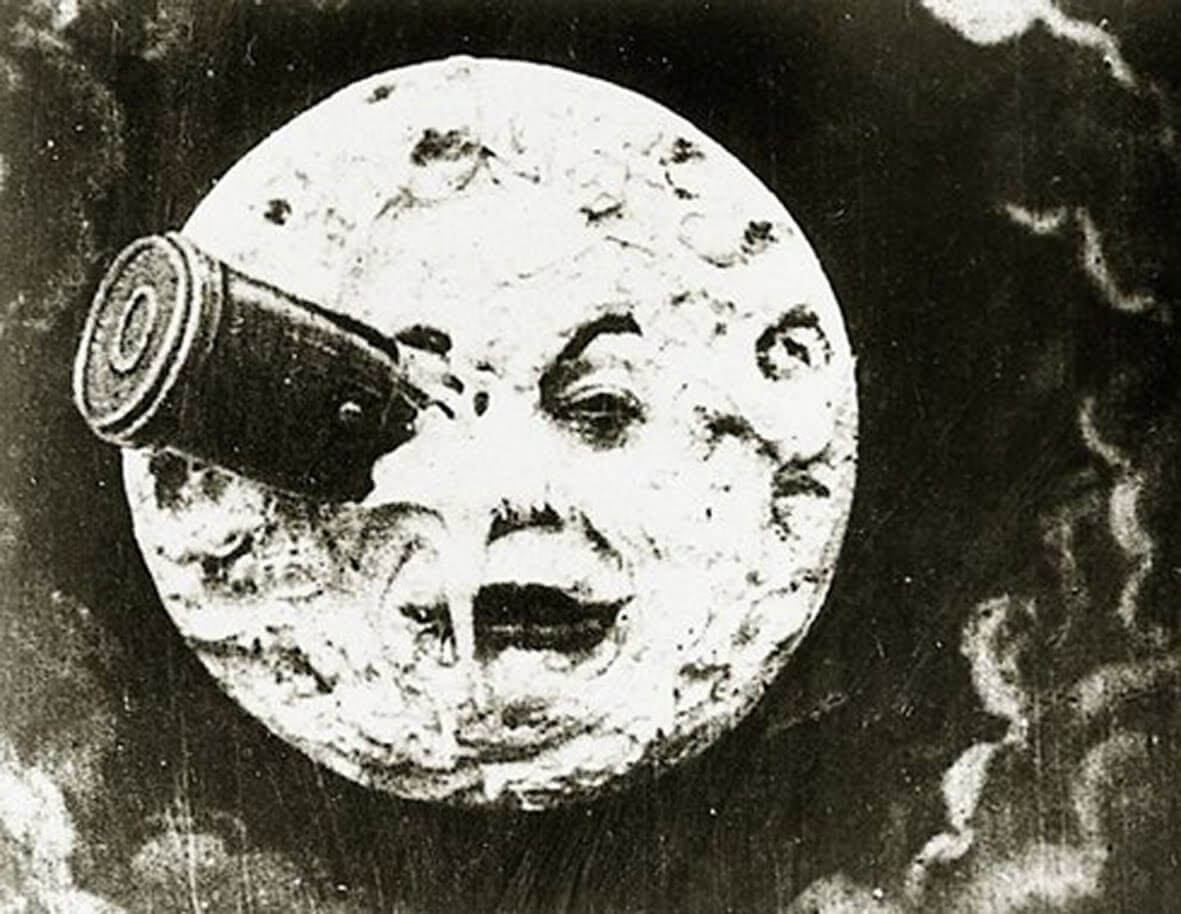 An image of the Moon that appeared in a 1902 French film called Le Voyage dans la Lune