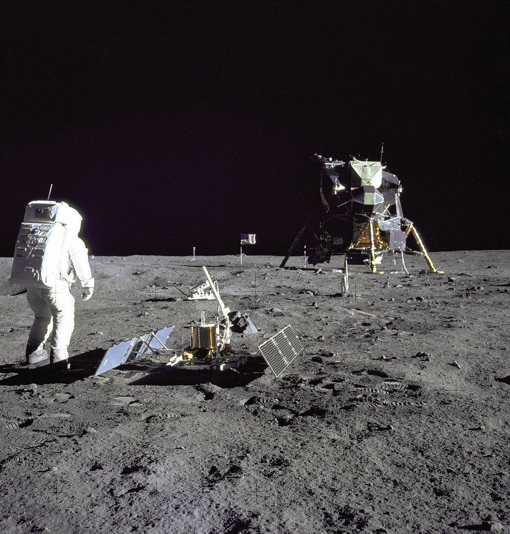 "Astronaut Buzz Aldrin set up several scientific experiments while on the surface of the Moon during the historic Apollo 11 mission. You can see the lunar module, ""Eagle,"" in the background."