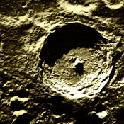 Tycho Crater, in the moon's southern hemisphere.