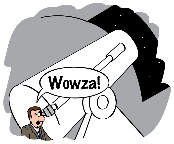 Hubble looks into a big telescope and says